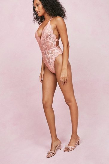 Blush Lace Plunging V Neck High Leg Bodysuit