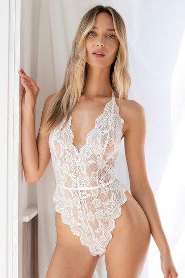 White Lace Stay Together Plunging High-Leg Bodysuit