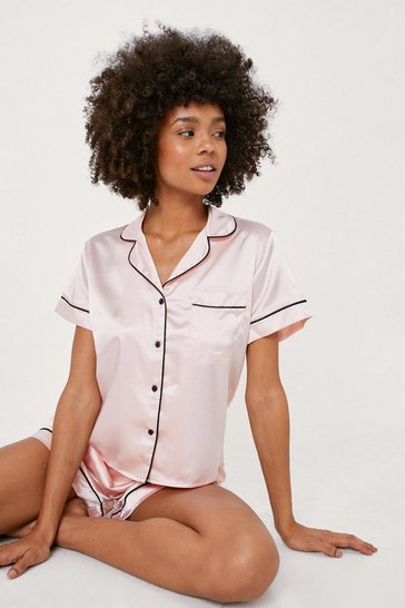 Champagne Straight to Sleek Satin Pajama Shorts Set
