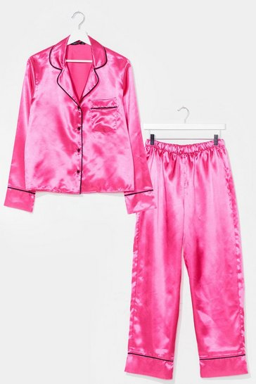 Bright pink Candy Coated Button-Down Satin Pajama Set