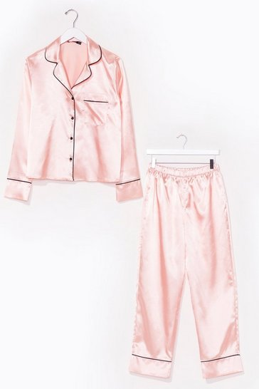 Champagne Contrast Piping Satin Pajama Set