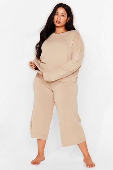 Stone Plus Size Cropped Knitted Loungewear Set