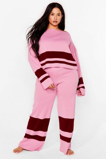 Pink Colorblock the Haters Plus Lounge Pants Set