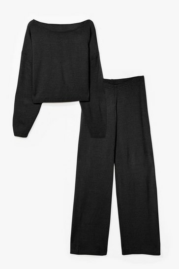 Black Sleep It Off-the-Shoulder Plus Knit Lounge Set