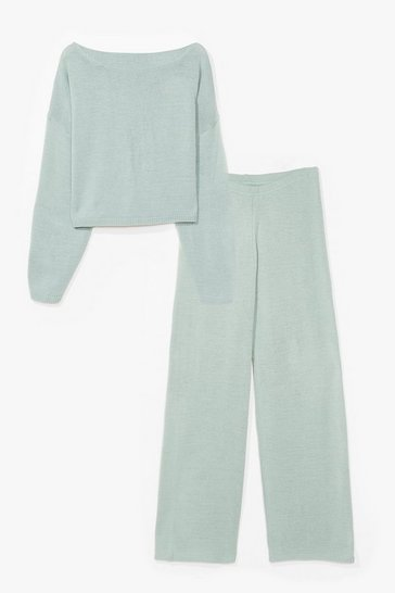 Sage Sleep It Off-the-Shoulder Plus Knit Lounge Set