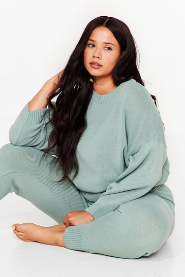 Sage Knit Batwing Sweater Loungewear Set