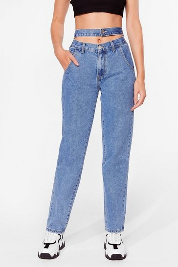Blue Double Vision Straight Leg Jeans