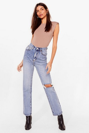 Blue Guess What We Raw Distressed Straight Leg Jeans