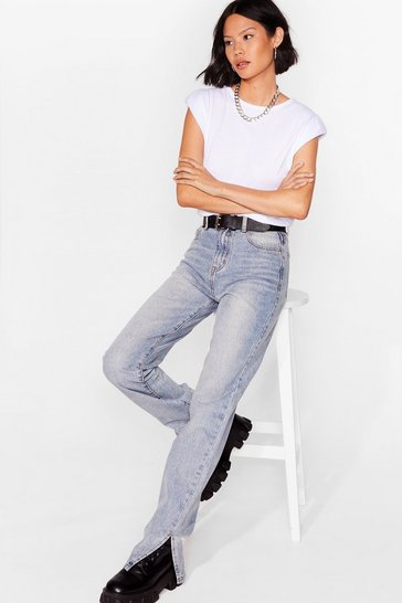Blue Work Slit Out High-Waisted Straight-Leg Jeans