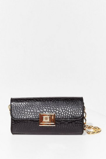 Black WANT Croc Listening Chain Shoulder Bag
