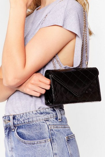 Black PU PATENT QUILTED CROSSBODY BAG