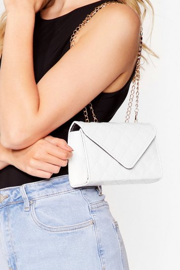 White PU PATENT QUILTED CROSSBODY BAG