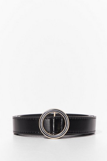 Black Run Circles Around 'Em Faux Leather Belt