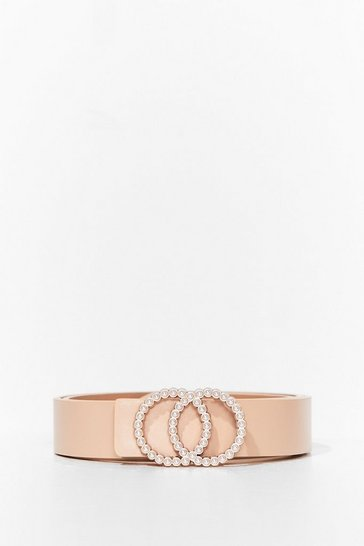 Nude Pearls Like You Faux Leather Circle Belt