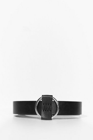 Black Take the Wheel Faux Leather Circle Belt