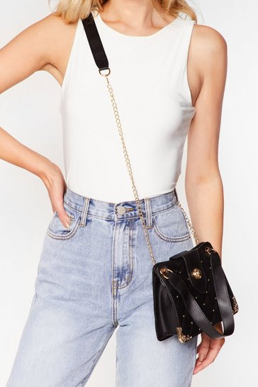 Black WANT Stud Be the One Quilted Crossbody Bag
