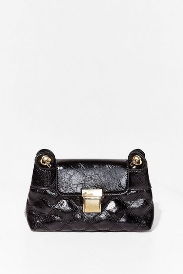 Black WANT Don't Quilt Faux Leather Crossbody Bag