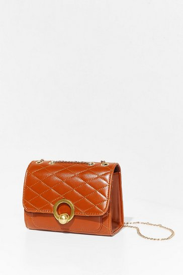 Tan WANT Quilt Actin' Up Crossbody Bag