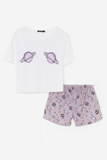 White What Planet Are You On Tee and Shorts Pj Set