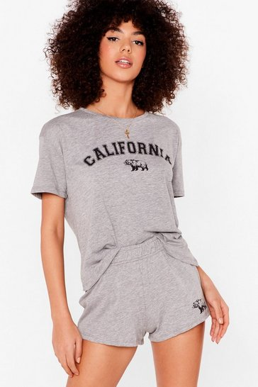 Grey marl California King Bed Graphic Pajama Shorts Set