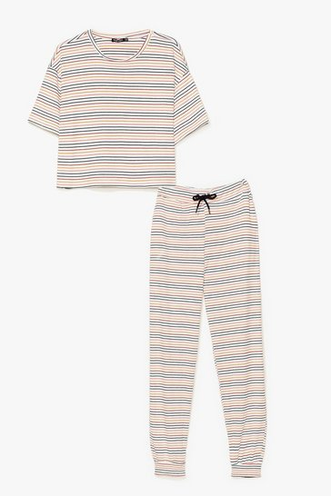 White Stop Stripe There Ribbed Joggers Pyjama Set