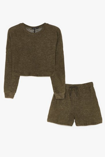 Khaki Brushed Cardigan Bralet And Short 3pc Lounge Set
