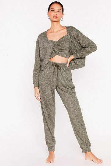 Khaki Better Brush Up Sweater and Joggers Lounge Set