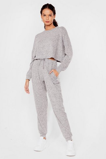 Grey marl We'll Be Together Sweatshirt and Joggers Set