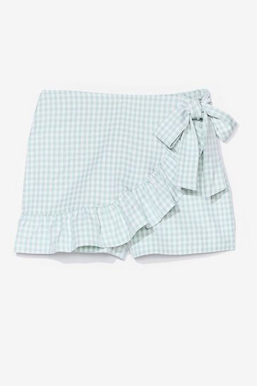 Mint It's Shaping Up Gingham Ruffle Skort Shorts