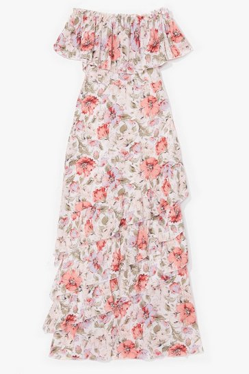 Off white A Little Off-the-Shoulder Floral Maxi Dress