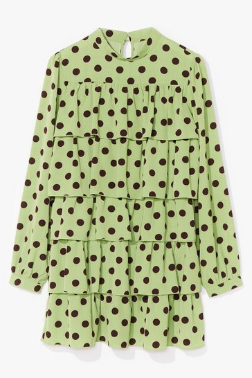 Green Tiers to Us Polka Dot Mini Dress
