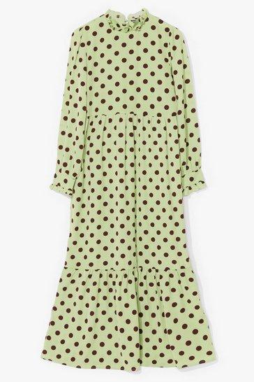 Green Polka Dot to Worry Satin Maxi Dress