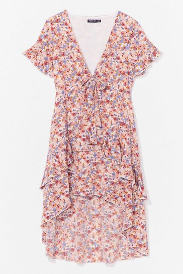 Blush MUTED FLORAL TIE BUST MIDI TEA DRESS