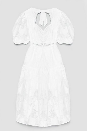 Off white LACE TIERRED OPEN BACK SMOCK DRESS