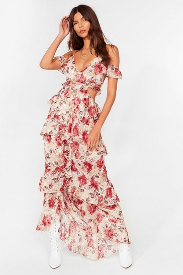 Cream All You Seed is Love Floral Maxi Dress