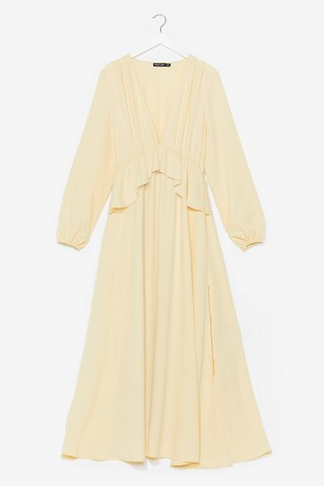 Lemon So Long Ruffle Maxi Dress