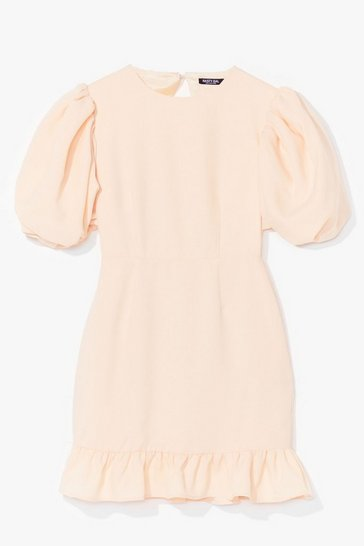 Lemon Volume Sleeve Open Back Plain Crepe Tea Dress