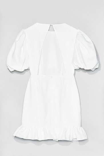 Off white Volume Sleeve Open Back Plain Crepe Tea Dress