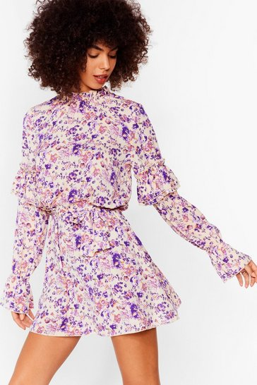 White You're Doin' Bud Floral Mini Dress