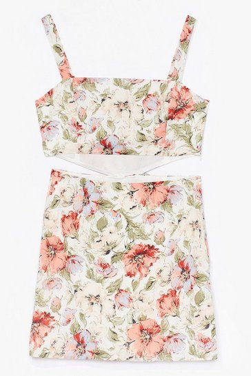 Off white floral square neck bow back mini dress