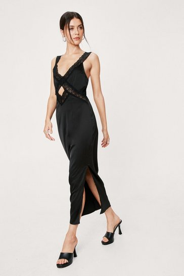 Black Satin Lace Trim Crossover Midi Dress