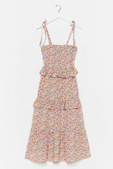 Cream You've Got to Grow Me Love Floral Midi Dress