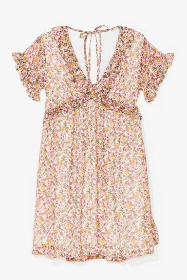 Cream Spring Affair Floral Mini Dress