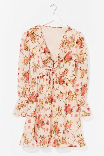 Cream What Rose Around Ruffle Floral Dress