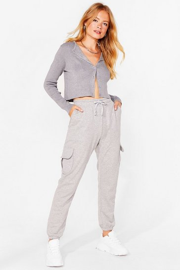 Grey marl Pocket What You Heard High-Waisted Joggers