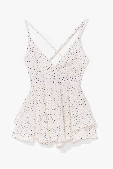 White If You've Dot It Flaunt It Spotty Ruffle Romper