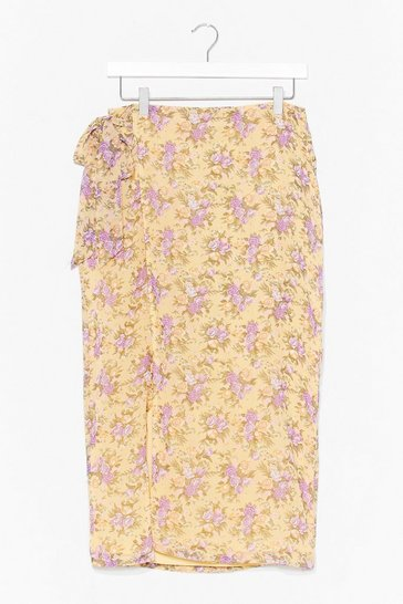 Yellow floral wrap midi skirt