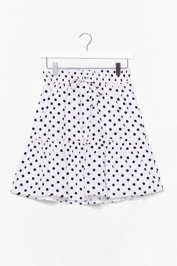 White You've Polka Dot Moves Tiered Mini Skirt