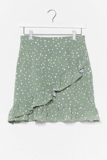 Green polka dot ruffle wrap mini skirt