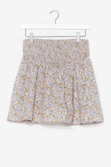 Cream Summer Lovin' Floral Mini Skirt